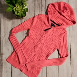 AEROPOSTALE Mini Cable Knit Cardigan Hoodie